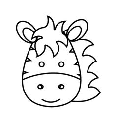 cute little zebra animal character vector image