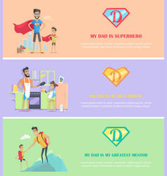 Dads day poster brochure template set vector