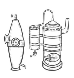Distillation apparatus sketch vector
