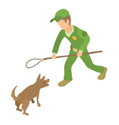 dog catcher control icon isometric 3d style vector image