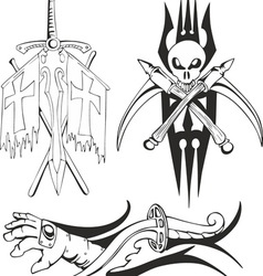 Fantasy tattoo black and white sketches vector