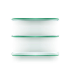 glass shelves for displaying on white wall vector image