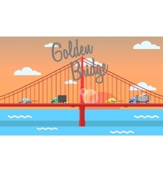 golden bridge vector image