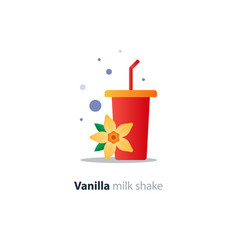 high glass of milk shake with vanilla flower vector image