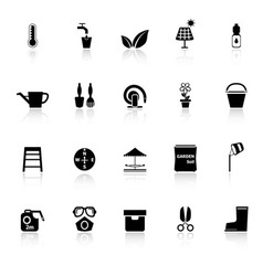 Home garden icons with reflect on white background vector