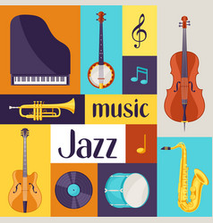 Jazz music retro poster with musical instruments vector