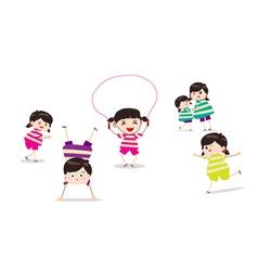 Little children doing skipping against white vector
