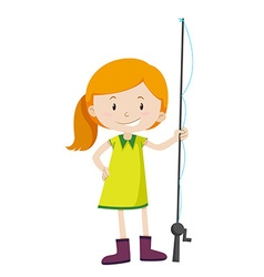 Little girl with fishing pole vector