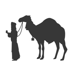magi with camel silhouette icon vector image