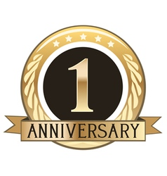 One year anniversary badge vector