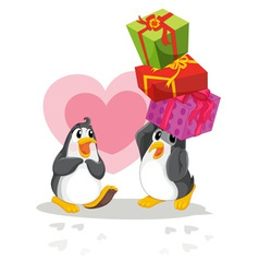 Penguins with gifts vector image vector image