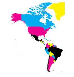 political map of americas in cmyk colors on white vector image vector image