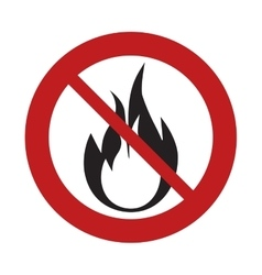 Prohibited sign road flame fire danger hot vector