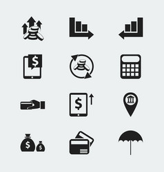 Set of 12 editable investment icons includes vector