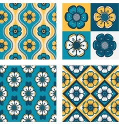 Set of four patterns with abstract flowers vector
