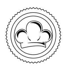 Silhouette stamp border with chef hat icon vector