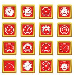 Speedometer icons set red vector