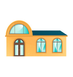 the yellow building in flat design style vector image