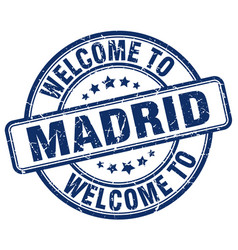 Welcome to madrid blue round vintage stamp vector
