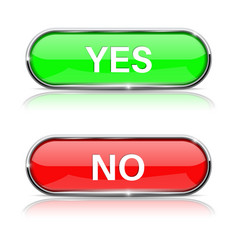 Yes and no buttons shiny green and red oval web vector