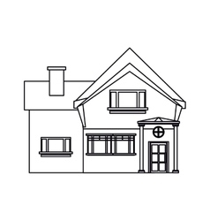 Outline beautiful home chimney window vector