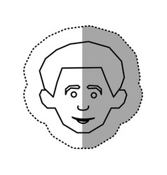 silhouette face happy man icon vector image