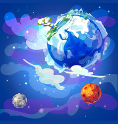 Cartoon earth planet in space template vector
