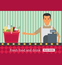 Supermarket buy grocery in the supermarket flat vector