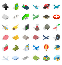 Bad war icons set isometric style vector