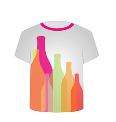 T shirt template- colorful bottles vector