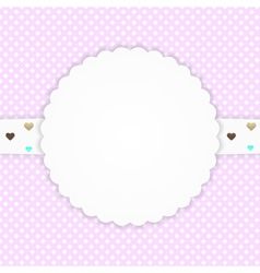 Pink greeting card with hearts vector image