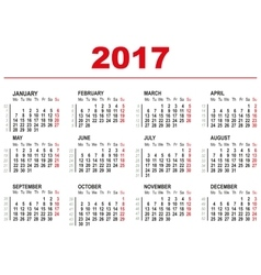 2017 Calendar template Horizontal weeks First vector image vector image
