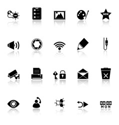 General computer screen icons with reflect on vector