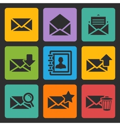 Email black icons set vector