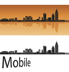 Mobile skyline in orange background vector