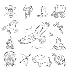 western icons set vector image