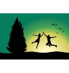Man and girl holding for hands and jumping on hill vector