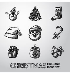Set of freehand christmas icons - snowman tree vector