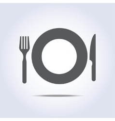 Fork plate knife icon vector