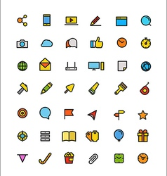 Different line style color icons set vector