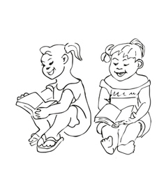Small girls sitting and reading a book vector