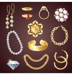 Jewelry realistic set vector