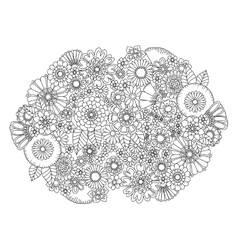 Flowers ornament coloring book for adults vector