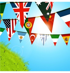 World bunting over sunny spring sky vector