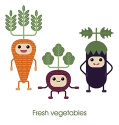 Cartoon cute smiling vegetables carrots eggplan vector