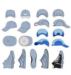 Colored outlined sneakers baseball cap set i vector