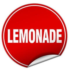 Lemonade round red sticker isolated on white vector