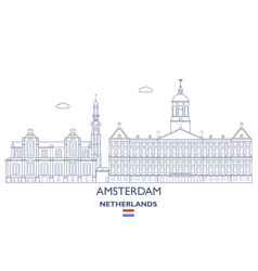 amsterdam city skyline vector image vector image