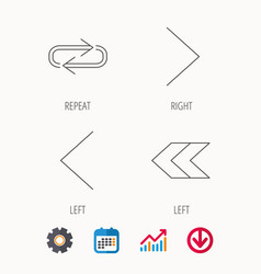 Arrows icons right repeat linear signs vector