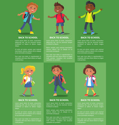 Back to school collection of posters with kids vector